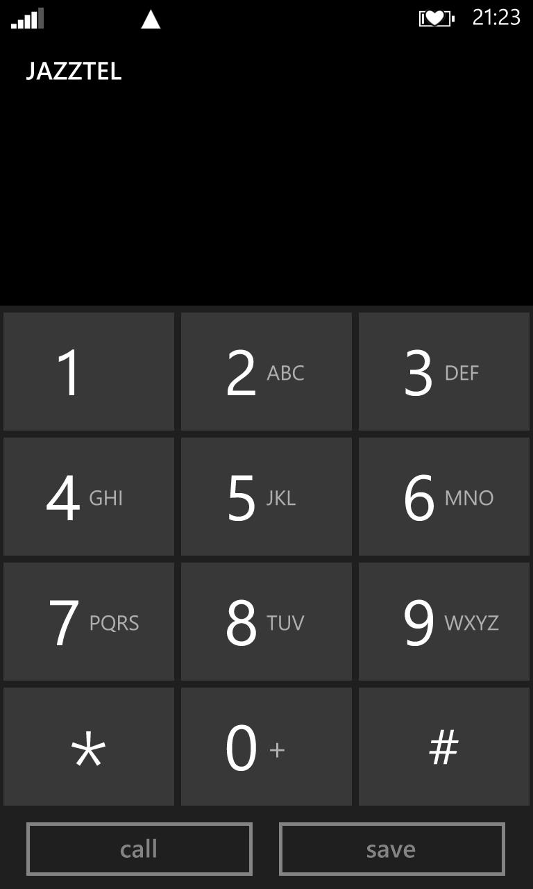 WP8's keypad