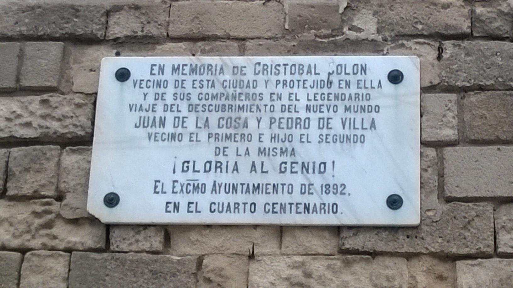 Placa conmemorativa a Colón
