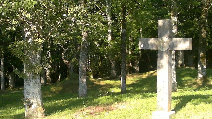 Transcurso del via crucis bajo los robles junto al monasterio
