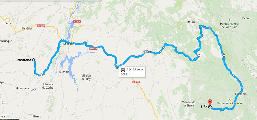 Mapa de mi ruta: desde Pastrana hasta Uña