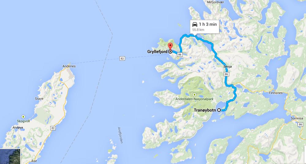 Ruta de hoy, de Tranoybotn a Gryllefjord