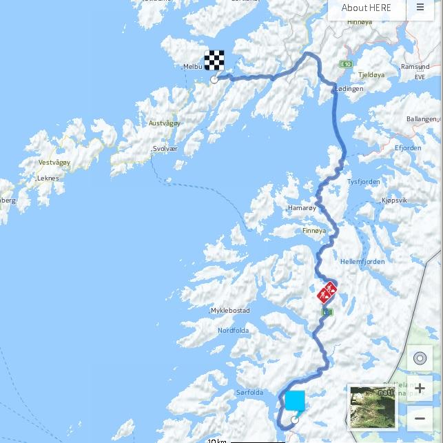 Mi ruta de hoy, desde Myrlansfjorden hasta Tennfloget