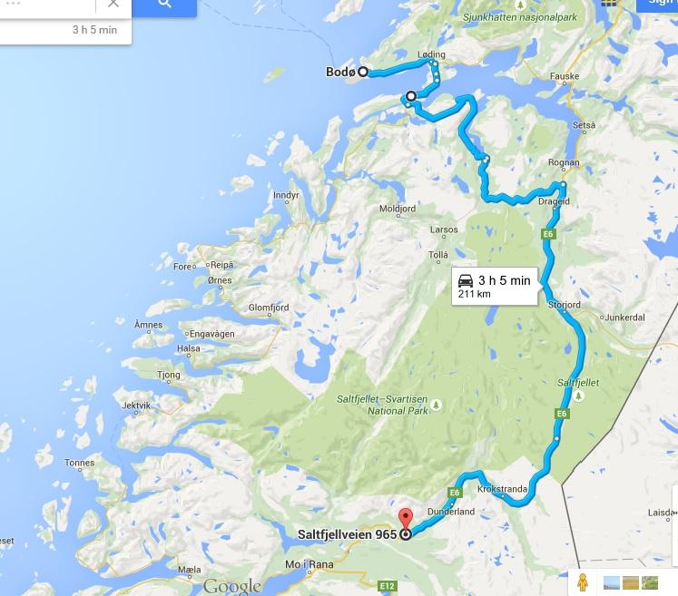 La ruta de hoy, desde Bodo hasta Storforshei, pasando por Saltstraumen