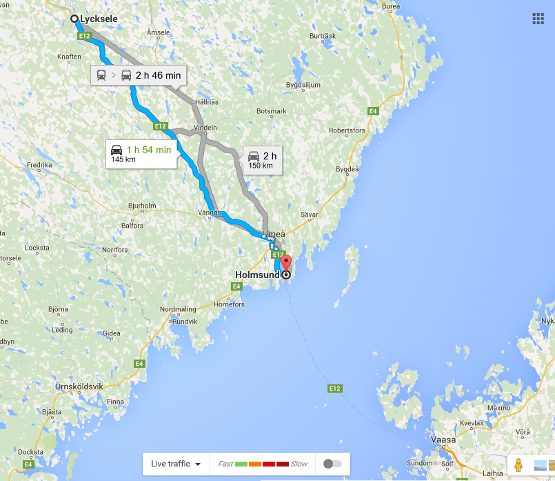 Lycksele to Umea and Holmsund