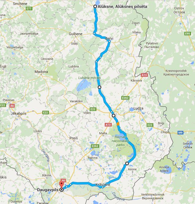 Ruta del día, de Aluksne a Daugavpils