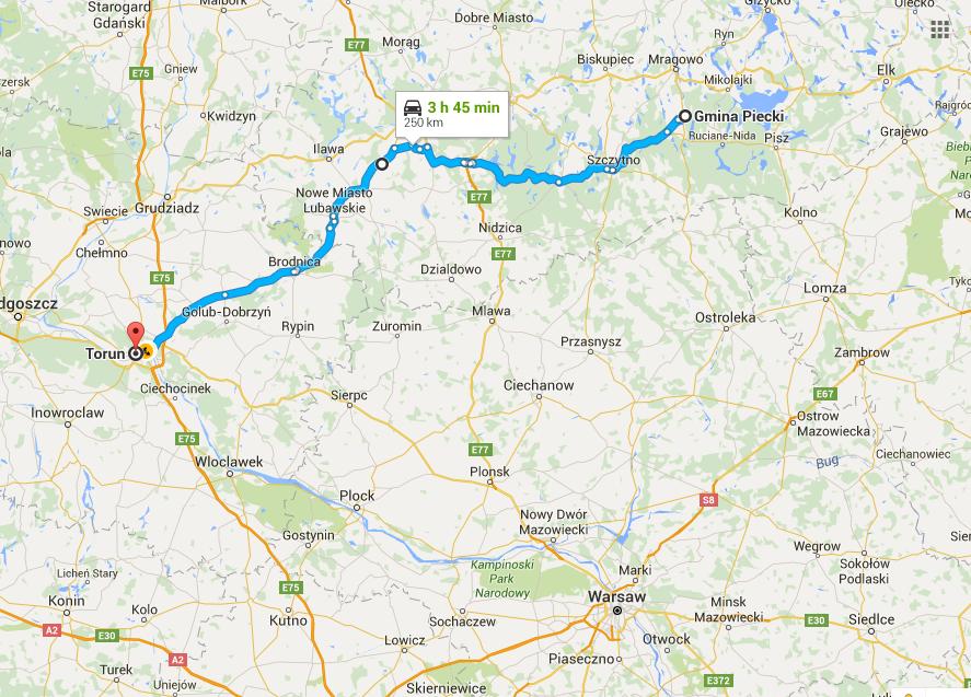 La ruta de hoy: de Piecki a Torun