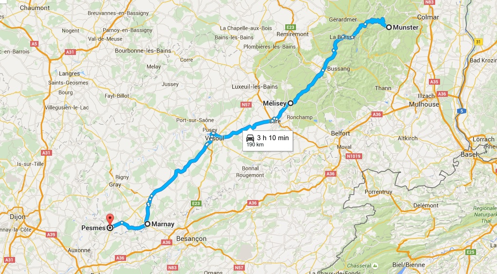 Today's route: from Munster to Pesmes