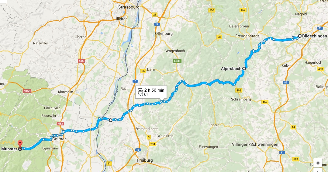 Today's route, from Bildechingen to Munster